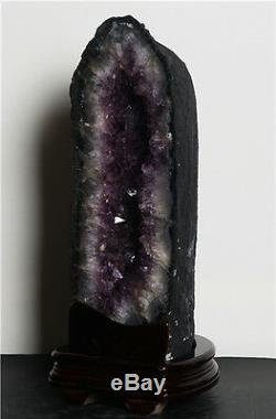 Tall 20 Inch Brazilian Dark Amethyst Crystal Cathedral Geode Cluster Polished