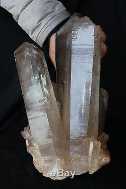Top! 14.5lb Clear Natural Quartz Crystal Cluster Point Specimen & Brazil