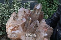 Top! 24.2 lb Clear Natural Ghost Phantom Quartz Crystal Cluster Point Specimen