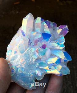 Unique Angel Aura Quartz cluster crystal Platinum & Silver Coated Rainbows