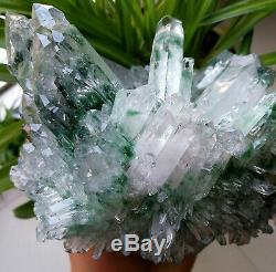 Unique Large Skeletal Green Phantom Quartz Crystal Cluster Specimen Point 4.3LB