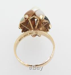Vintage 60s 14k Yellow Gold Pearl Jade Quartz Princess Style Ring Val $2100