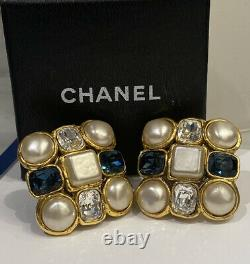 Vintage Chanel Strass Crystal Gripoix Pearl Earrings 4 Necklace/sautior/suit