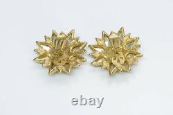 Vintage Craft Gold Plated Red Poured Glass Crystal Flower Earrings