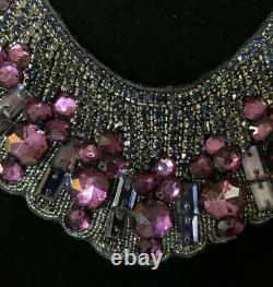 Vintage Designer Haute Hippie Purple Diamond Crystal Silk Bib Necklace 61