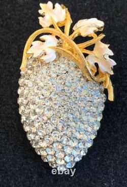 Vintage Elsa Schiaparelli Cluster Strawberry Floral Brooch Rare