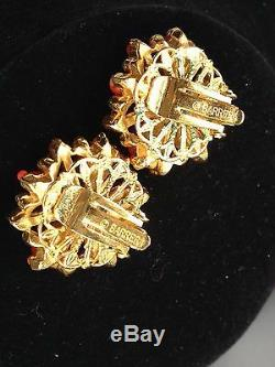 Vintage Jose and Maria Barrera Faux Coral Earrings Clip Cluster Austrian Crystal