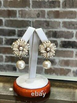 Vintage Signed Miriam Haskell Beaded Faux Pearl and Crystal Clip Earrings
