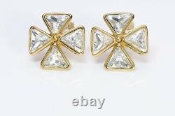 Yves Saint Laurent YSL Gold Plated Crystal Maltese Cross Earrings