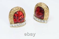 Yves Saint Laurent YSL Robert Goossens Red Glass Crystal Horseshoe Earrings