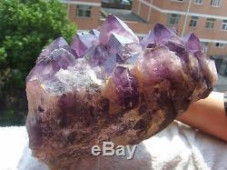10,25 KG Natural Amethyst Quartz Crystal Cluster Rock Spécimen + Support En Bois