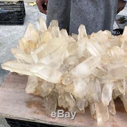 107.8lb Naturel Clair Quartz Cluster Vug Mineral Pointe De Cristal Guérison 25 Tt526
