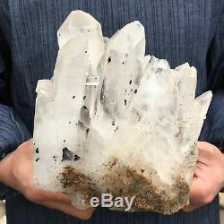 11.48lb Groupe De Quartz Clair Naturel Spécimen De Cristal Minéral Cicatrisant 7''acc5-fa