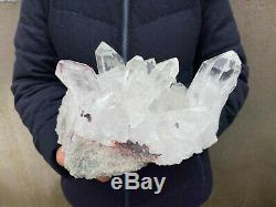 12.1lb Grand Naturel Quartz Clair Cluster Guérison Cristal Mineral Point Échantillon