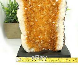 12 Grandes Grappes De Quartz En Cristal De Citrine De Taille Xlarge Avec Base En Bois Ccw3e De 7,35 Lb