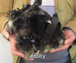 13.38lb Rarenatural Beautiful Black Quartz Crystal Cluster Tibetan Specimen #