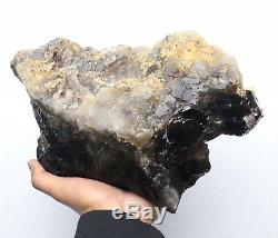 13.6lb Spécimen Minéral Rare De Grappe De Cristal De Quartz Noir De Beauté Naturelle