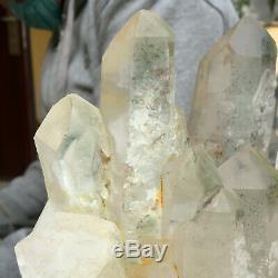 1371g Grand Quartz Vert Naturel Cristal Cluster Rugueux Guérison Des Échantillons