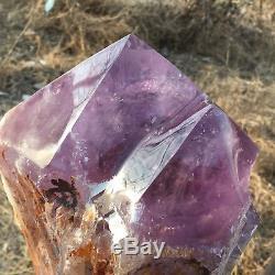 14.36lb Améthyste Naturel Obélisque Quartz Cluster Point De Baguette De Cristal De Guérison Tt27