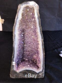 15 Améthyste Géode Cristal De Quartz Cluster Cathédrale Spécimen Décor Br Avec Agate