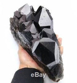 16.2lb Spécimen Minéral Rare De Grappe De Cristal De Quartz Noir De Beauté Naturelle / Chine