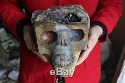 16.5lb Crâne De Grappe De Cristal De Quartz Améthyste Naturelle Rare Sculpté, Cristal Géode