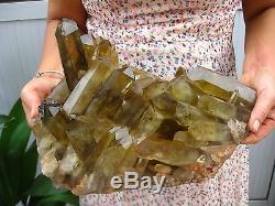 16.6lb Naturel Citrine Smokey Quartz Crystal Cluster Points Spécimens