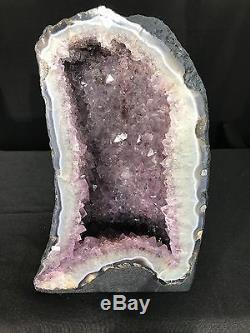 16 Amethyst Cathedrale Geode Cristal Quartz Specimen Cluster Naturel Br Avec Agate