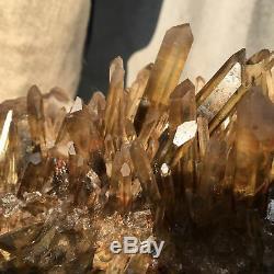 17.02lb Spécimen De Cristal À Amas De Quartz Citrine Fumés Naturels Guérissant Atd85-ga