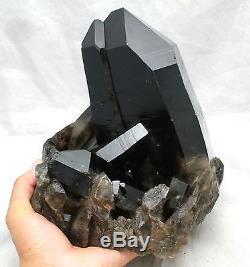 17.7lb Aaa Peau Lisse Belle Noir Quartz Grappe De Cristal Spécimen Tibétain