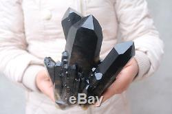 1700g Naturel Beau Spécimen Tibétain De Grappe De Cristal De Quartz Noir # 501