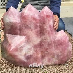 173.8lb Spécimen De Pointe De Baguette Cristalline En Grappe D'obélisque En Quartz Rose Naturel Tt195-s
