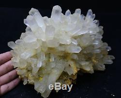 18.1lb Rare! Nouveau Spécimen De Grappe De Cristal De Pyramide De Quartz Jaune De Trouvaille