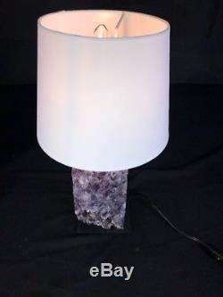 18 Lampe De Table Latérale Améthyste Géode Quartz Cristal Cluster Cathédrale Spécimen