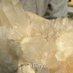 1918g Grand Naturel Blanc Clair Quartz Cluster Rugueux De Guérison Des Échantillons