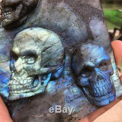 1pc Naturel Labradorite Crâne Sculpté À La Main Groupe De Cristal De Quartz Guérison