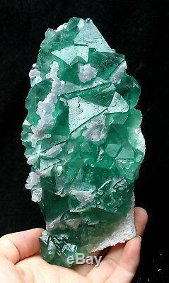 2.1lb Naturel Calcite Octahedral Vert Fluorite Cristal Cluster Minéral Spécimen