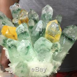 2.3lb Énorme Vert Clair Phantom Cristal De Quartz Grappe De Guérison Minérale Des Échantillons