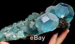 2,5 Lb De Spécimen Minéral En Grappes De Cristal De Quartz Bleu Et Vert Fluorite Naturel