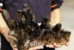 20.17lb Aaa Rare Naturel Beau Noir Quartz Crystal Cluster Spécimen Tibétain