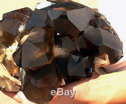 20.88lb Naturel Smoky Calcite Quartz Crystal Cluster Spécimen De Guérison + Tourmaline