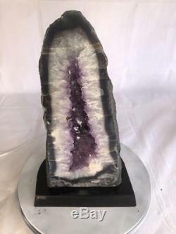 20 Cluster Naturel En Quartz Cristal Geode Cathedrale Amethyste Avec Base En Bois