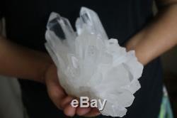 2000g (4.4lb) Spécimen Tibétain Naturel De Grappe De Cristal De Quartz Clair Naturel