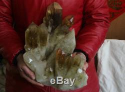 22.6lb Naturel Naturel Smokey Citrine Quartz Cristal Points Cluster Pierre D'origine