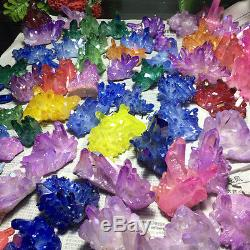 22lb Couleur Aura Quartz Cristal Titanium Bismuth Silicon Cluster Arc-en-70-90pcs