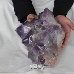 25.54lb Points De Grappe De Cristal De Quartz De Pourpre Améthyste Violet Naturel Guérison Polie