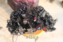 25200g (55.5ib) Naturel Beau Spécimen Minéral Noir De Grappe De Quartz De Quartz
