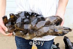 26.24lb Naturel Rare Beau Spécimen Minéral De Grappe De Quartz Quartz Noir