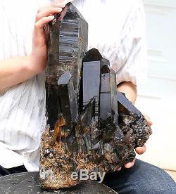 26.29lb Naturel Rare Beau Spécimen Minéral En Grappe De Quartz Noir Quartz
