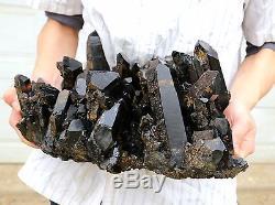 26.97lb Naturel Rare Beau Spécimen Minéral En Grappe De Quartz Quartz Noir